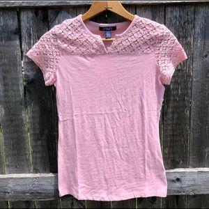 CHAPS Pink Lace Short Sleeve Blouse NWOT